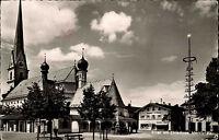 Prien am Chiemsee alte s/w AK 1957 Partie am Marktplatz Kirche Chiemgau Backhaus