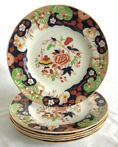 "Antique Set of 6 English Minton Ironstone D'Orsay Japan 10 1/4"" Dinner Plates"