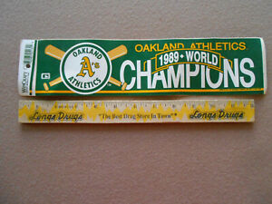 Vintage 1989 World Champions Oakland A's Bumper Sticker New Old Stock $2.95