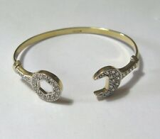 9ct gold babies cubic zirconia Spanner bangle 5.6g