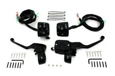 V-Twin Smooth Contour Handlebar Control Kit With Wire Black For 96up Harley