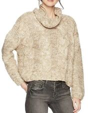 Moon River Cable knit Turtle Neck Regular Fit White pullover-women's-Sz M-