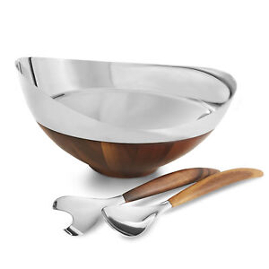 Nambe Pulse Collection Salad Bowl with Servers