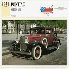 1931 PONTIAC Series 401 Classic Car Photograph / Information Maxi Card