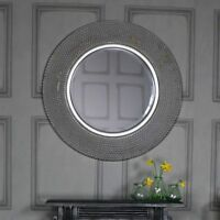 Extra large round antique silver beaded wall mirror vintage chic living room