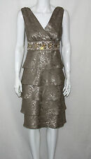 NEW R&M Richards Size 8 Tiered Embellished Cocktail Evening Dress Taupe