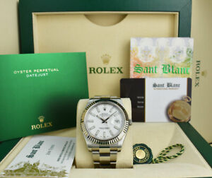 ROLEX - Mens 41mm White Gold & SS DateJust II White Index 116334 - SANT BLANC