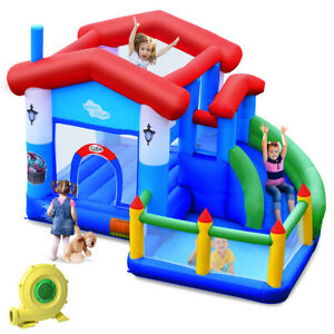 Kids Inflatable Bounce House Jump Bouncer Slide Castle Ball Pit with 735W Blower