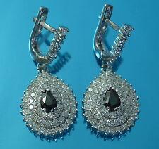 Solid 925 Sterling Silver Stylish CZ Dangle/ Drop  Earrings UK Hallmarked