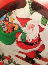 Handpainted Christmas Scene Solid Wood Jumbo Santa Lazy Susan RARE HARD TO FIND