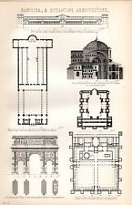 1880 PRINT ~ ARCHITECTURE ~ BASILICA AND BYZANTINE DIOCLETIANS PALACE ST.SOPHIA