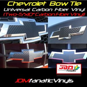 "TWO 5""x10"" Carbon Fiber Vinyl Bow Tie Emblem Overlays Decal Wrap Universal Chevy"