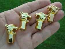 ~ JAGUAR GROWLER GOLD TYRE VALVE CAPS SET of 4 Badge Emblem Tire *NEW* Wild Cat