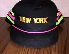 New York  Cap Roped, Black.With Gold Lettering And Green And Pink Stripes.