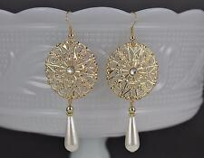 gold faux pearl filigree scroll medallion disc dangle earrings 3 inches long