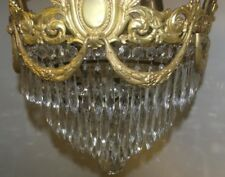 Antique French Empire Gilt Bronze Crystal Wedding Cake Chandelier 1910's