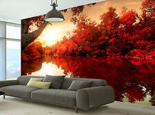 Red Autumn Wall Mural Photo Wallpaper GIANT DECOR Paper Poster Free Paste