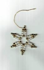 Estrella de Navidad 6 piezas de blancas y Doradas Perlas CON ORO Cable