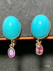 Turquoise & Amethyst Clip Back Oval Earrings