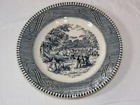 """Vintage Royal Currier & Ives Harvest Blue White 6 1/2"""" Bread Plate USA stamp~"""
