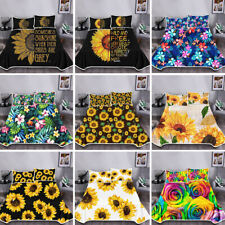3x Bedding Blanket with Pillowcases Sunflower Gravity Blankets Thick Pillowslip
