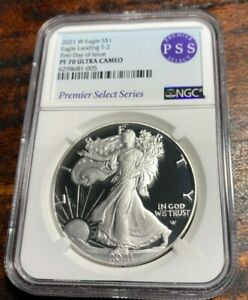 2021 W $1 PROOF SILVER EAGLE TYPE 2 PSS NGC PF 70 FIRST DAY OF ISSUE IN STOCK!