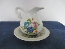 CHINA PITCHER & BOWL HAND PAINTED SIGNED KYOTO STUNNING FLORAL DESIGN