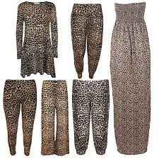 New Womens Plus Size Leopard Print Maxi Swing Dress Leggings Palazzos 8-30