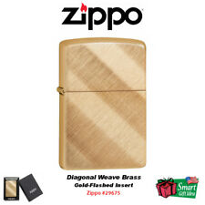 Zippo Diagonal Weave Brass, Gold-Flashed Insert, Windproof Lighter #29675