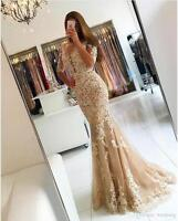 Lace Long Formal Mermaid Evening Dress Celebrity Pageant Wedding Party Prom Gown