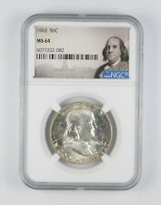 1963 MS64 Franklin Half Dollar - 90% SILVER - NGC Graded *933