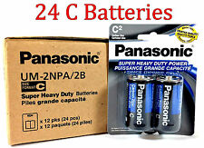 24 Wholesale C Panasonic Battery Batteries Super heavy duty Bulk Lot Zinc Carbon