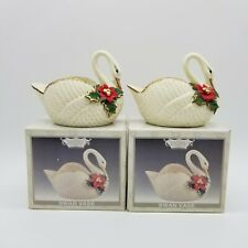 Set Of 2 Crown Accents Swan Vase Ceramic Figures w/ Boxes Collectible Decorative