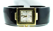 Kenneth Jay Lane Black & Gold Bangle Cuff Bracelet Dress Watch 25mm Quartz KJL