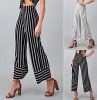 Women's Striped Cropped Culottes Pants High Waist Wide Leg Palazzo Black White