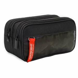 Pencil Case for Boys and Girls Large Capacity Zippered Triple Pocket Black New