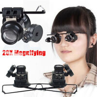 New 20X Magnification Glasses Type Jeweler Watch Repair Magnifier with LED Light