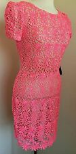 NWT Rubber Ducky Neon Pink Lace Mini Dress short sleeve size S