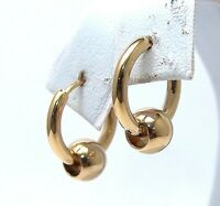 Huggie Hoop Earrings Gold PVD Captive Ball Surgical Steel Hypoallergenic