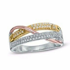 1.33ct NATURAL ROUND DIAMOND 14K WHITE ROSE YELLOW GOLD BAND RING IN SIZE 7