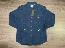 Levi's Classic Western Shirt Pearl Snap Button Denim Dark Blue Men 2XL 669860020