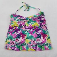Catalina Tankini Top L 12 14 Floral Neon Halter Swimsuit Swim Ruched Womens
