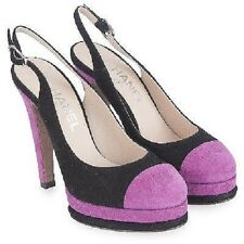 $1175 NEW CHANEL Black Pink Slings Quilted Platform SANDALS SHOES bag 37 6.5