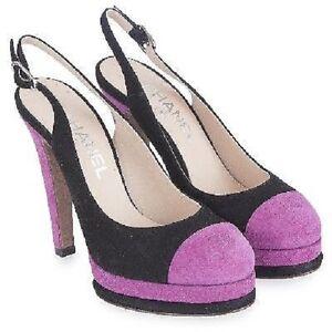 Neuf Chanel Noir Rose Élingues Matelassé Plateforme Sandales Sac 37 6.5