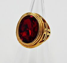 MEN RING RUBY STAINLESS STEEL YELLOW GOLD VINTAGE LOOK CROSS MEDIEVAL SIZE 11