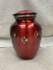 Pet Urn Red with Silver Paw Prints - Large
