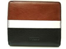 Authentic New Fossil Emma Mini BiFold Leather Wallet Neutral Brown White Multi