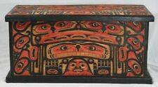 LARGE INTRICATELY CARVED & PAINTED PACIFIC NORTHWEST COAST STYLE CHEST