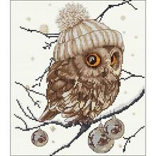"""Counted Cross Stitch Kit. Owl, Whoo...Whoo  It's Winter  12.25"""" X 11.75"""""""