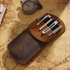 Brown Pen Storage Bag Vintage Cowhide Genuine Leather Pencil Stationery Case New
